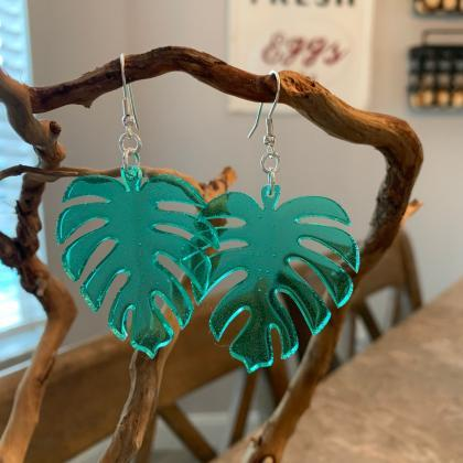 Resin art earrings,leaf earrings,na..