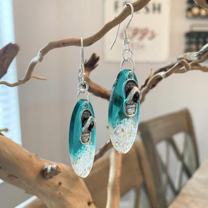 Resin art,beach earrings,sandals,gr..