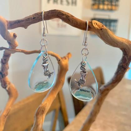 Sea glass, resin,mermaid earrings,b..