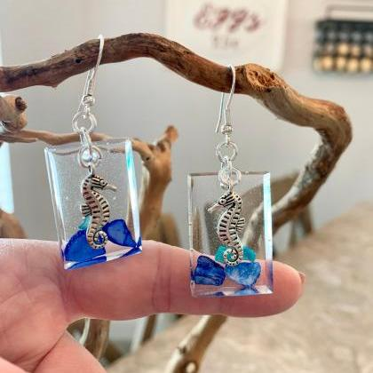Seahorse earrings,resin art earring..
