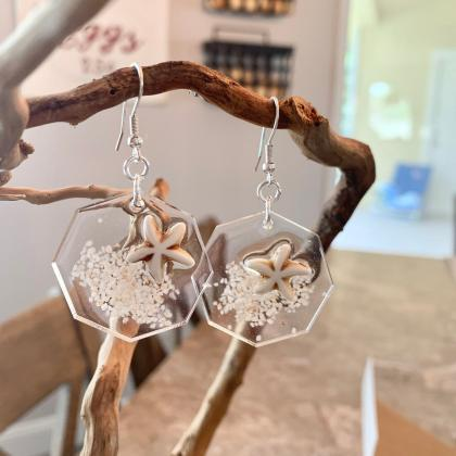 octagon resin earrings,starfish san..