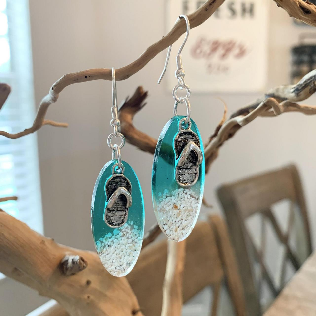 Resin art,beach earrings,sandals,grad gift, jewelry for women,ocean,beach lover jewelry,birthday,vacation jewelry,tropical,beach and sand
