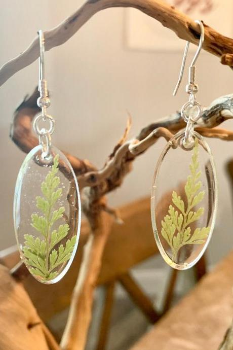 Resin pressed fern earrings,Botanical resin earrings,minimalist jewelry, jewelry for women,graduation,lightweight jewelry,birthday,nature,summer earrings