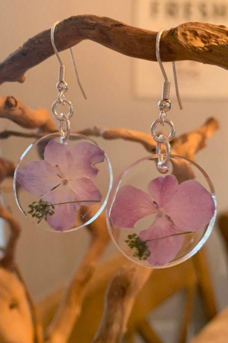 Resin Pressed Flower Earrings,Real Flower Earrings, Pink Dried Flower Earrings