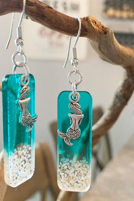 Resin art,mermaid earrings,beach jewelry,grad gift,tropical, jewelry for women,vacation,cruise,wave,birthday,summer jewelry,summer earrings