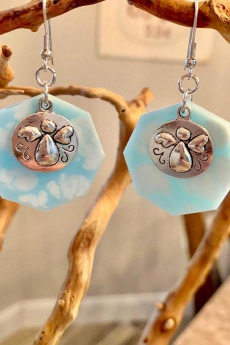 angel earrings,clouds,resin art,angel charm,angelic, jewelry for women,spiritual,heaven earrings, jewelry for a special occasion,gift,heaven