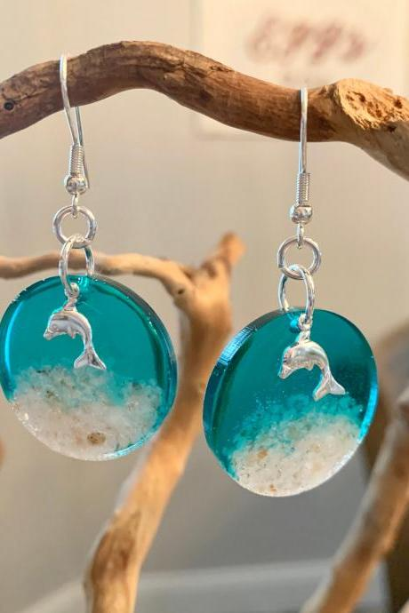 Resin jewelry,dolphin earrings,beach jewelry, jewelry for women,gift,vacation jewelry,ocean,birthday,grad gift,tropical,wave,sand,summer