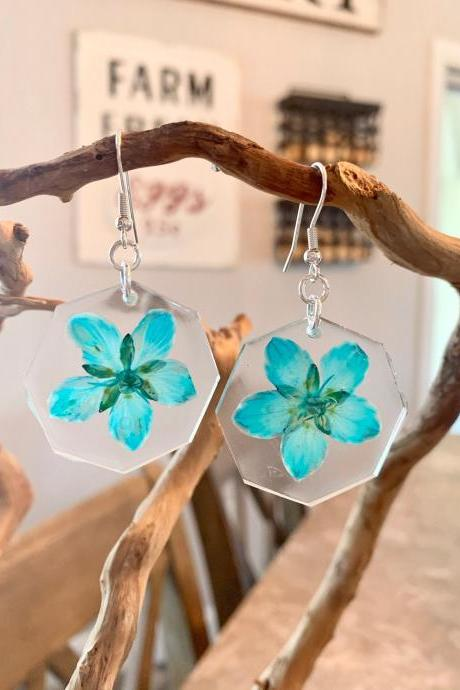 Real flower earrings, Turquoise marsh grass of parnassus earrings,Resin Pressed Flower Earrings, botanical jewelry, unique gift