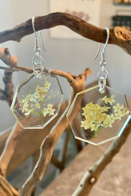 Resin pressed flower earrings,Queen Anne's lace, Real Flower Earrings