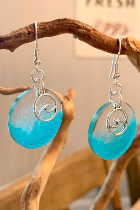 Wave resin earrings,silver wave charm,summer jewelry,beach earrings,vacation jewelry, jewelry for women,gift for beach lover,nature art
