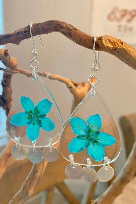 Pressed turquoise flower earrings, turquoise marsh of parnassus resin earrings,Real Flower Earrings ,statement jewelry, unique gift