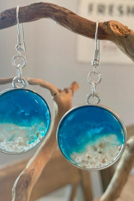 Resin wave earrings,beach jewelry,tropical,ocean jewelry,beach earrings, boho,jewelry for women,jewelry for a special occasion,vacation #1