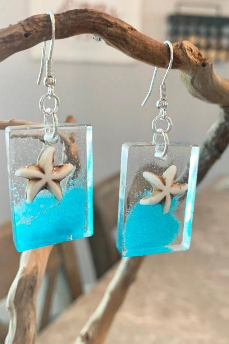 Resin art earrings,beach jewelry,starfish earrings,ocean jewelry,jewelry for women,special gift,wave earrings,colored sand,birthday,ocean